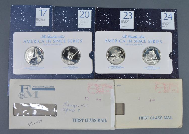 "Four ""America in Space"" Silver Proof Medals"