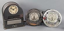 Group of Three Time Clocks