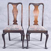 Pair Mahogany Queen Anne Style Dining Side Chairs