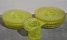 Bx Eight Vaseline Glass Dessert Plates