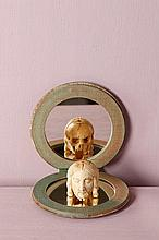 Memento mori en os, tête de Christ et crâne  Espagne, XVIIe siècle