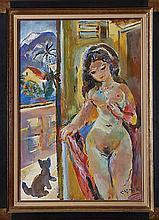 Ludwig Klimek (1912-1992) Femme nue au chat