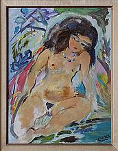 Ludwig Klimek (1912-1992) Femme nue assise