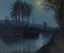 René Balades (né en 1920) Calanques & Canal le soir