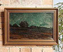 École française de la fin du XIXe siècle  Paysage de nuit    Huile sur toile portant une signature « Bernard » en bas à gauche