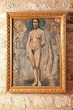 Roger de LA FRESNAYE (1885-1925)  Nu sur fond vert et étude de bras  Circa 1908-1910  Huile sur toile