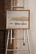 René MENDÈS-FRANCE (1888-1985)  Sortie de port    Huile sur toile signée en bas à gauche