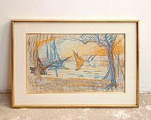 Henri PERSON (1876-1926)  Voiliers sur la Méditerranée    Pastel sur papier