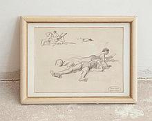 Charles ATAMIAN (1872-1947)  Scène de plage    Crayon sur papier