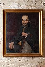Georges Henri CARRÉ (1878-1945)  Portrait d'Auguste Pierret  1927  Huile sur toile signée en bas à droite, dédicacé « à l'ami Pierret, bien cordialement »