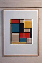 Piet MONDRIAN (1872-1944)  Composition bleu, rouge et jaune issue de la série Der Sieg der Farbe  1924  Silkscreen print signed on the back