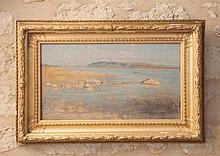 Emilio OCON Y RIVAS (1845-1904)  Bord de mer    Huile sur toile signée et située « Malaga » en bas à droite