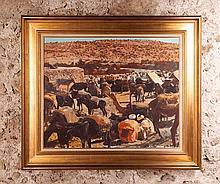 Jacques MAJORELLE (1886-1962)  Scène de bivouac    Huile sur toile signée et située « M'Zamer » (?) en bas à droite
