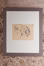 Alberto GIACOMETTI (1901-1966) Tête de face et de profil d'après une sculpture égyptienne circa 1937 Dessin à la plume et à l'encre noire sur papier à lettres, porte des mentions manuscrites au dos: « N°8 » et « tête de pharaon / 27 x 27 Vers 1952 /