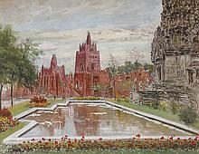 Henry d'Estienne (1872-1949) Vue de l?Exposition Coloniale de 1931, Pavillon de la Grande mosquée de Djenné et le temple d?Angkor Vat