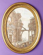 Attribué à Charles-Louis Clérisseau (1721-1820) Personnages dans des ruines antiques