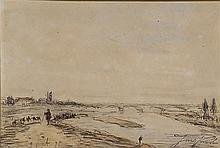 Johan-Barthold Jongkind (1819-1891) Paysage au pont
