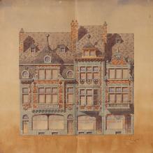 Ernest Risoli Ensemble de trois études de façades