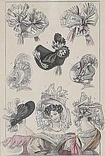 4 gravures de mode et costumes encadrées
