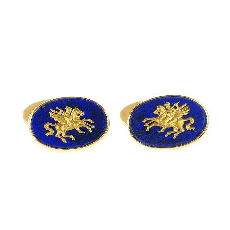 A pair of 18ct gold intaglio lapis lazuli cufflinks.