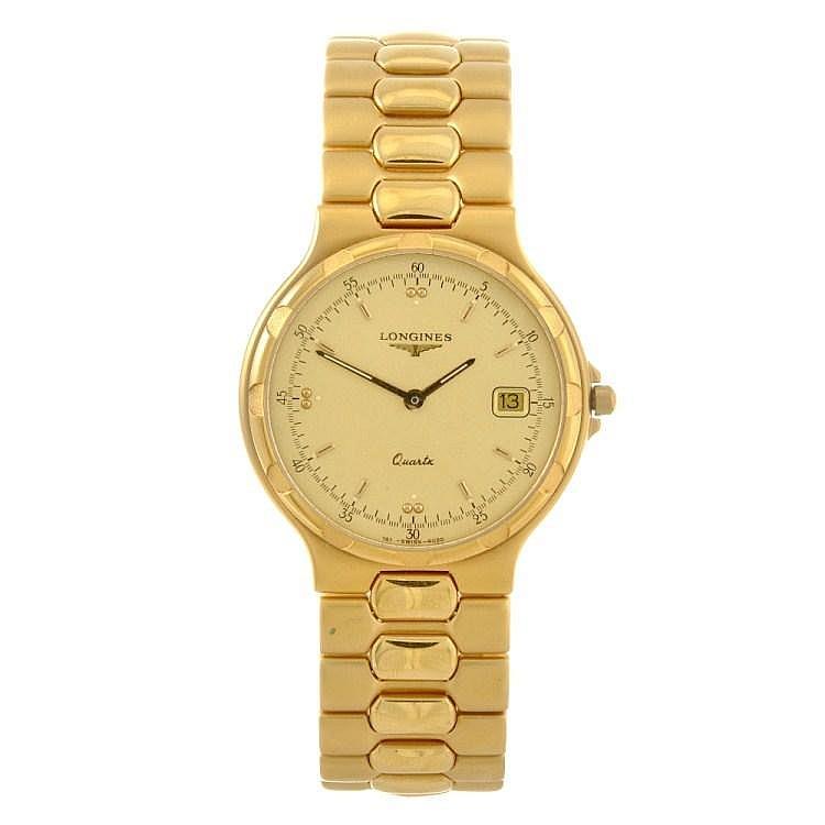 a gold plated quartz gentleman s longines conquest bracelet