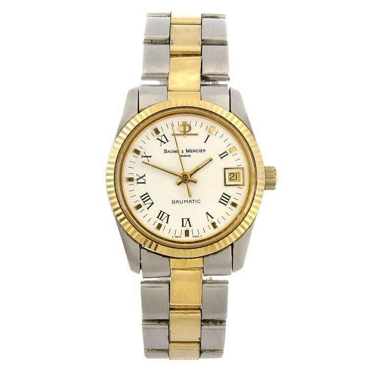 A bi-colour automatic mid-size Baume & Mercier bracelet watch.