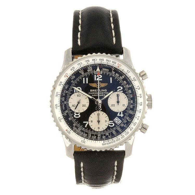 A stainless steel manual wind chronograph gentleman's Breitling Navitimer wrist watch.