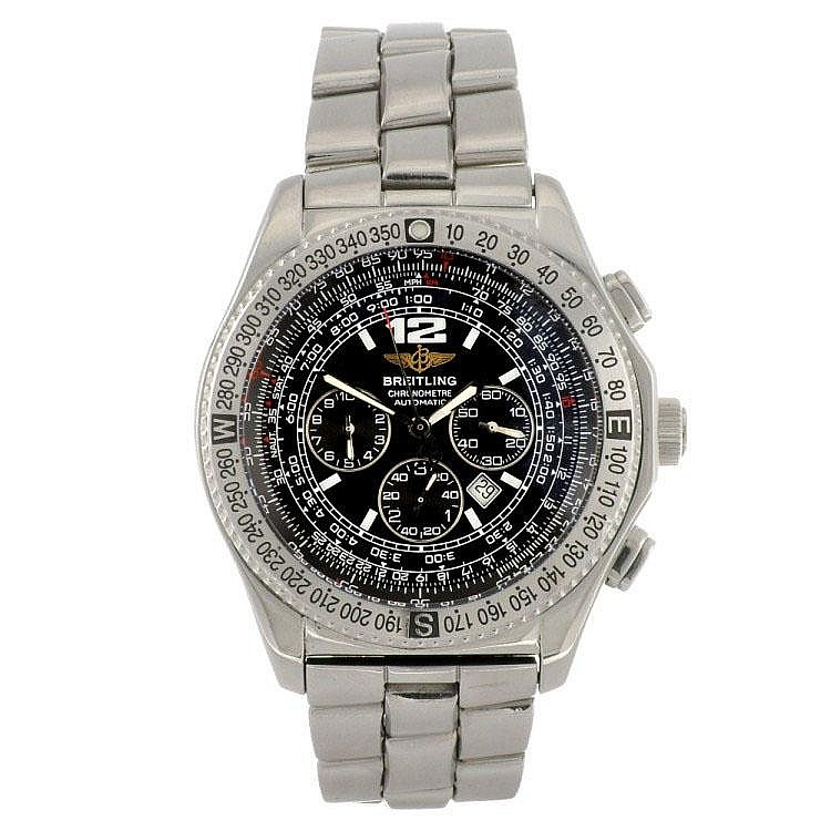 A stainless steel automatic gentleman's Breitling B-2 bracelet watch.
