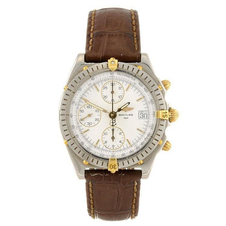 A stainless steel automatic gentleman's Breitling Chronomat wrist watch.