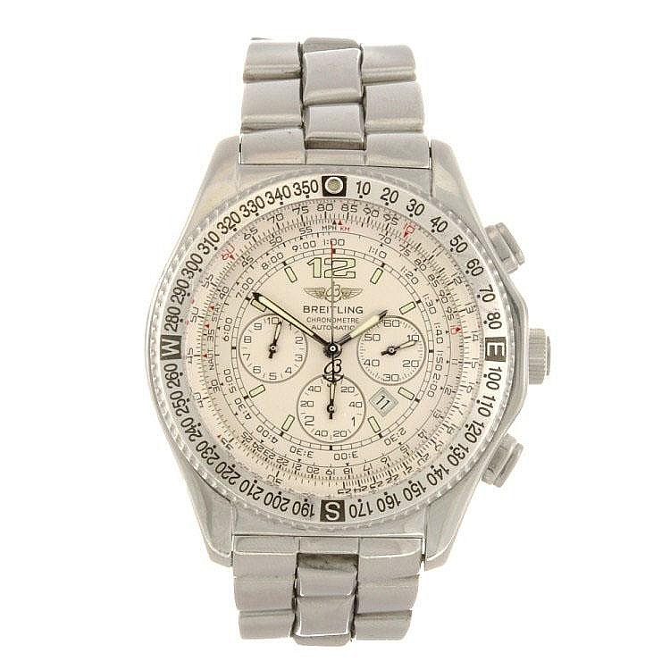 A stainless steel automatic chronograph gentleman's Breitling B-2 bracelet watch.