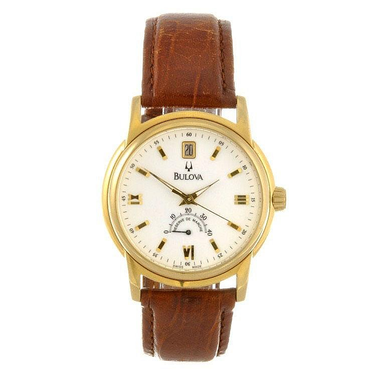 A gold plated automatic gentleman's Bulova wrist watch.