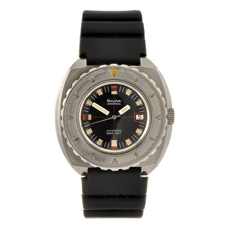 A stainless steel automatic gentleman's Bulova Snorkel wrist watch.