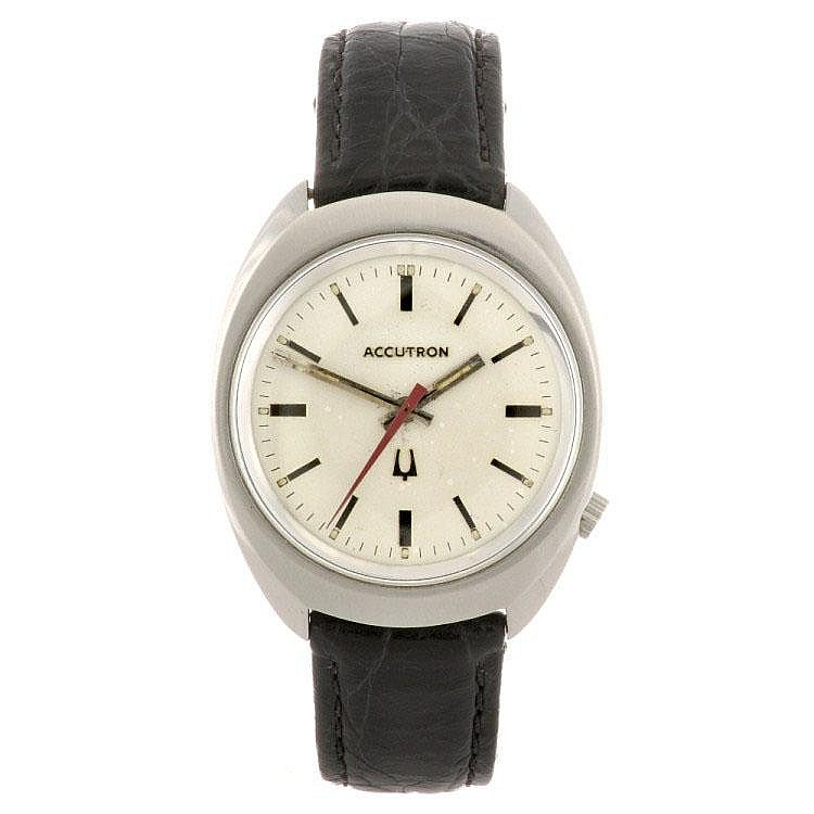 A base metal electronic gentleman's Bulova Accutron wrist watch.