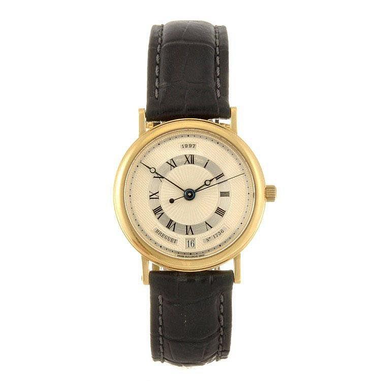 An 18k gold automatic gentleman's Breguet wrist watch.