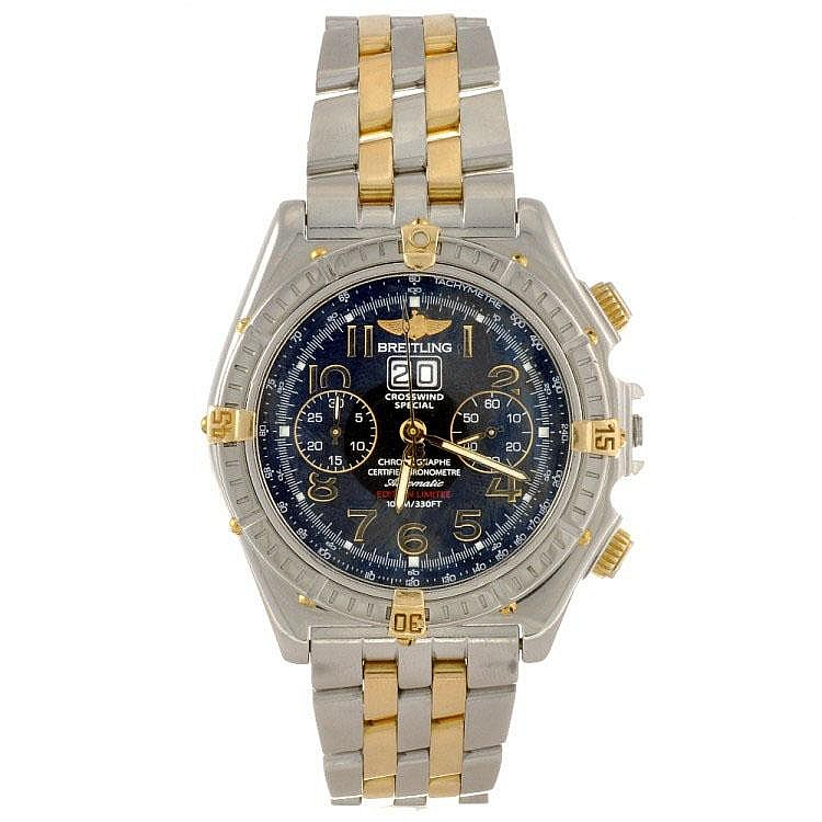 A bi-metal automatic chronograph gentleman's Breitling Windrider Crosswind Special bracelet watch.