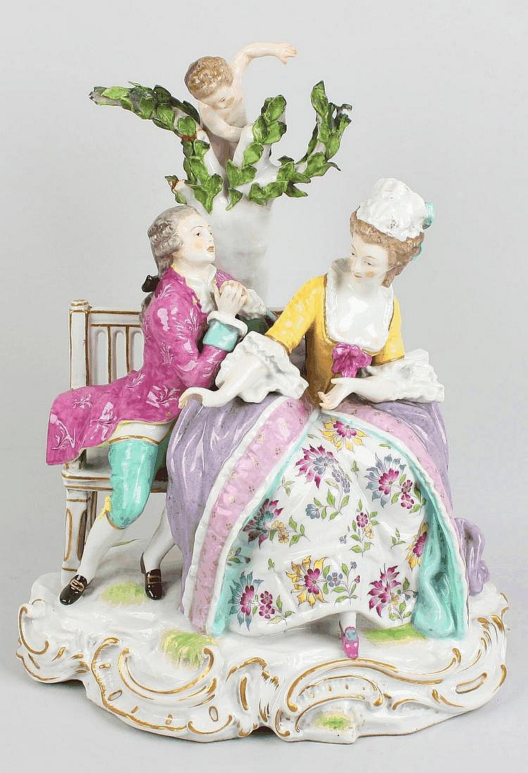 A Meissen-style porcelain figure group