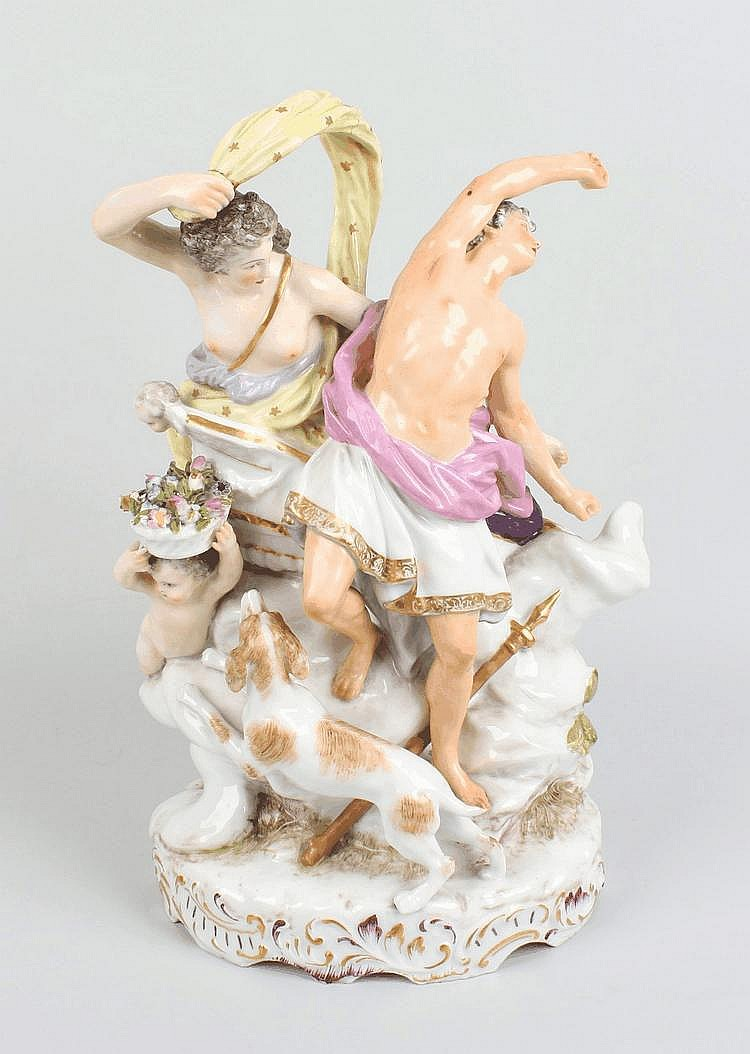 A 19th century Meissen-type porcelain figure group of Diana and Actaeon
