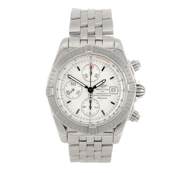 (502011671) A stainless steel automatic gentleman's Breitling Windrider Chronomat bracelet watch.