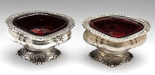 A pair of Edwardian silver open salts.