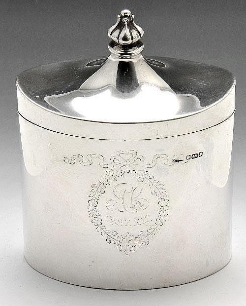 Edwardian silver tea caddy.