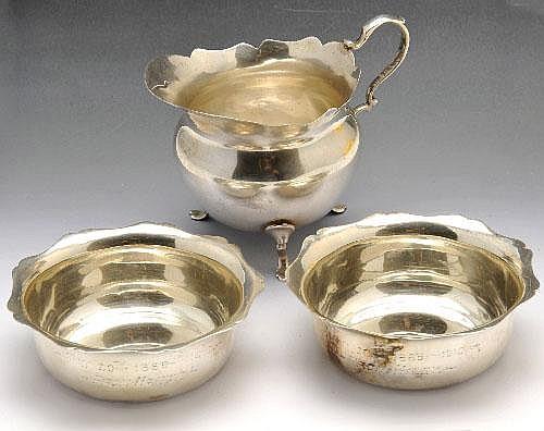 Edwardian silver cream jug, etc.