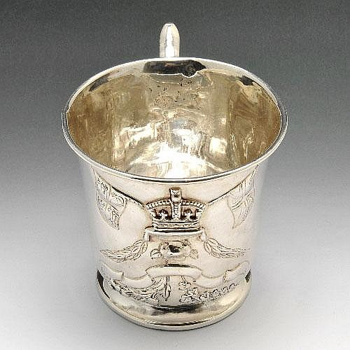 Edwardian silver three nations mug.