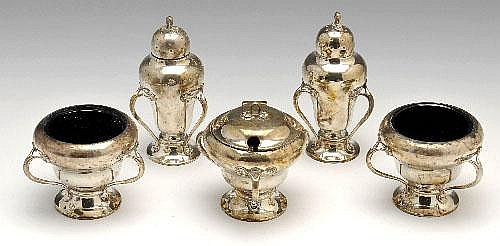 Art Nouveau silver five piece condiment set.