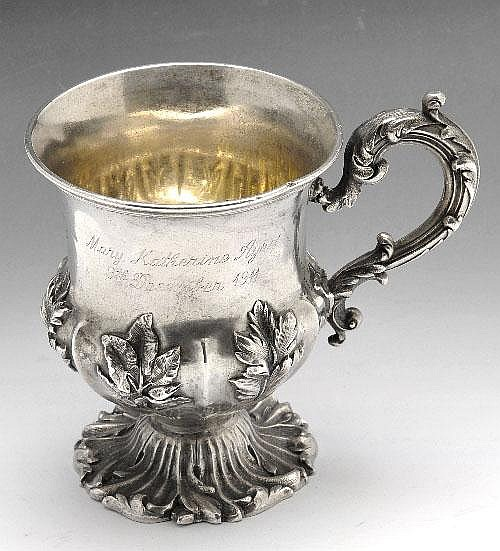 An early Victorian silver christening mug.
