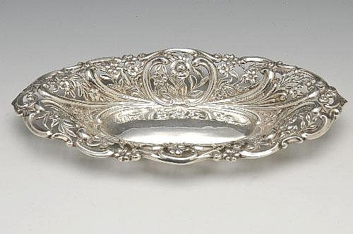 Art Nouveau silver bonbon dish.