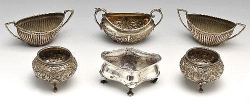 A selection of Victorian and later open salts.
