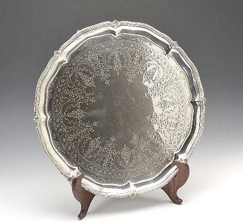 A Victorian silver salver.