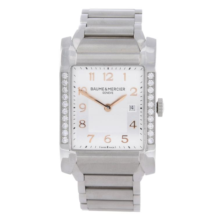 BAUME & MERCIER - a lady's factory diamond set stainless steel Hampton bracelet watch