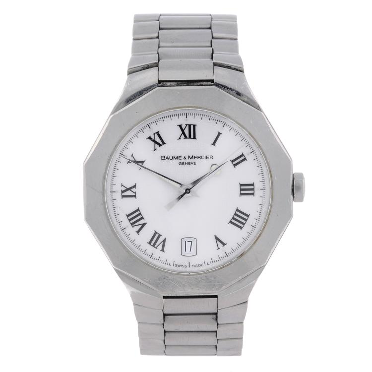 BAUME & MERCIER - a gentleman's stainless steel Riviera bracelet watch