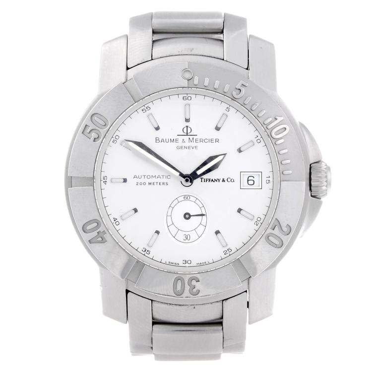 BAUME & MERCIER - a gentleman's stainless steel Capeland bracelet watch retailed by Tiffany & Co